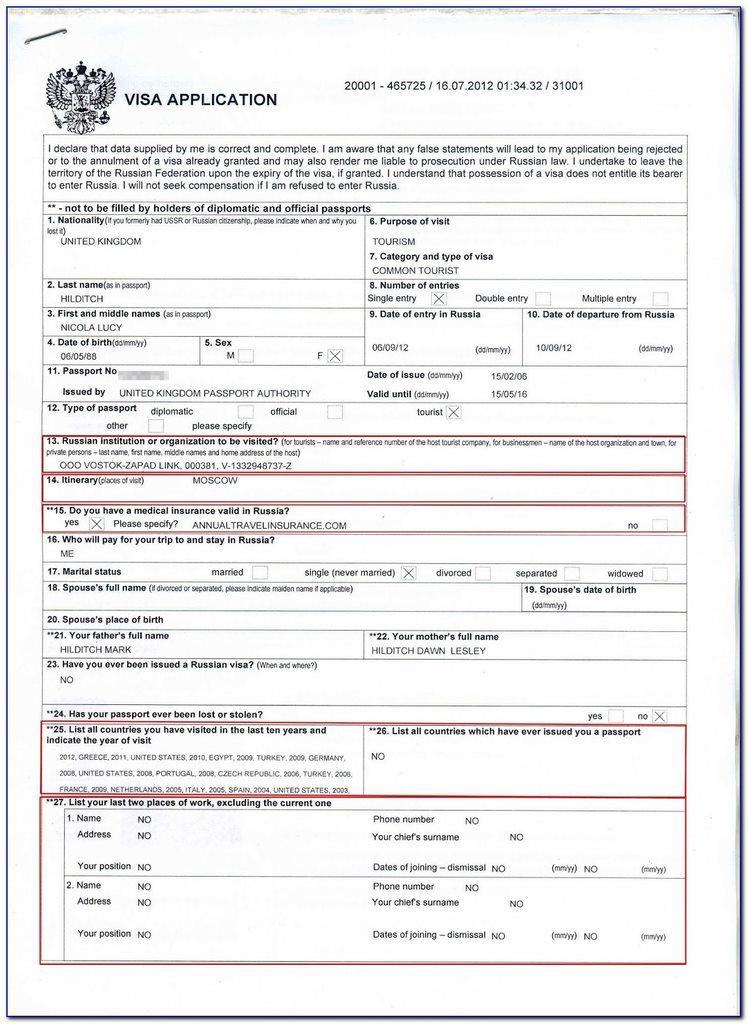 Russia visa application