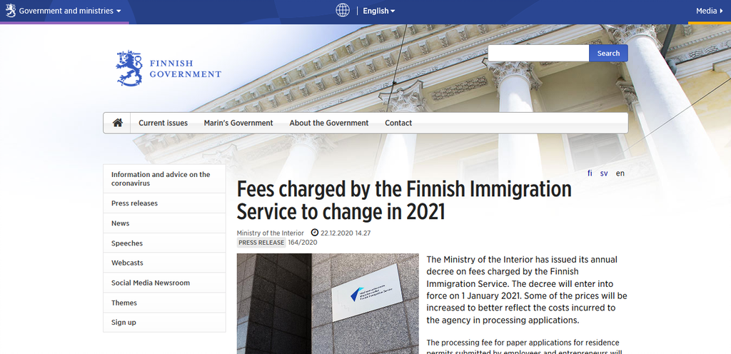 FINLAND ANNOUNCE RISE IN IMMIGRATION